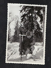 Vintage Antique Photograph Mom Pushing Adorable Little Baby on Sled in Snow