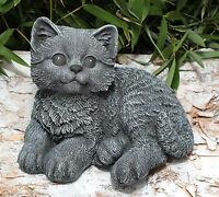 Steinfigur Katze sitzend Steinguss Schiefergrau Gartenfigur Deko frostfest