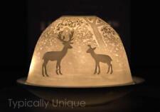 FOREST DEER TEA LIGHT CANDLE HOLDER WHITE PORCELAIN BOXED LIGHT GLOW CHRISTMAS