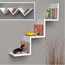 Mensola Parete Moderna Design Zig Zag Mensole Muro Scaffale 3 Ripiani Bianco