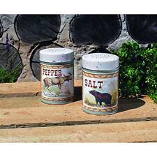 Lodge Moose Bear Tin Salt Pepper Shakers Food Safe Rustic Kitchen Vintage Style