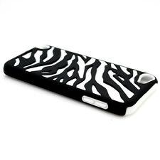 White Black Zebra Hybrid Case For Apple iPod Touch 5 Hard Rubber Armor Skin