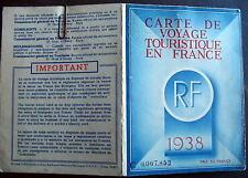 France Carte De Voyage Touristique 1938