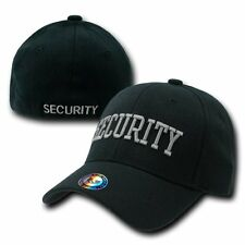 Black Security Officer Guard Flex Embroidered Baseball Fit Fitted Cap Hat L/XL