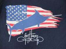 Nwot Guy Harvey Bandera Eeuu Marlin Azul Marino Pequeño Bolsillo Camiseta C604