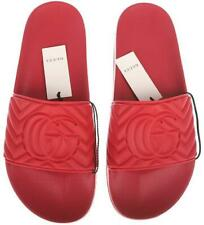NEW GUCCI MEN'S RED MATELASSE QUILTED RUBBER DOUBLE G SLIDES SHOES 7/US 7.5