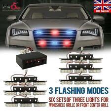 54 Red & Blue LED Emergency Warning Strobe Lights Bars Deck Dash Grill
