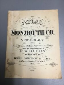 Vintage 1873 ATLAS OF MONMOUTH CO. NEW JERSEY, F. W. Beers (1986 Reprint)