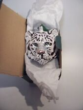 Very Rare Slavic Treasures Glass White Tiger Ornament Original Box,Tag- Unused