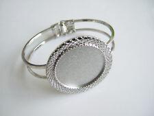 Silver Tone Cuff Bangle Bracelet Blanks Base 30mm Round Cameo Cabochon Setting