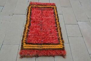 Turkish Vintage Tulu Rug, 2x5 Turkish Rug, Turkish Oriental Rugs, Oriental Rug W