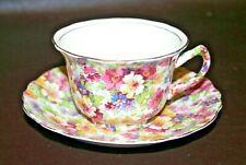 """Vintage James Kent """"Du Barry"""" English Porcelain Chintz Style Floral Cup & Saucer"""