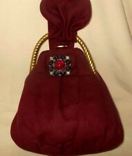 Vintage burgundy wool 1940's handbag with twisted brass frame and glass clip