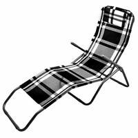 Relaxliege mit Kopfkissen - schwarz / weiß - Bäderliege Sonnenliege Garten Liege
