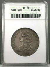 1835 50c Capped Bust Half Dollar Anacs Ef45 ~ Xf45 ~ Old Holder