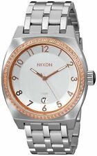 NIXON 40mm Monopoly Silver / Champagne Crystal Ladies Watch A325 1519-00 NEW