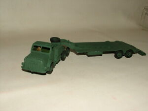 VINTAGE FLAT ARMY GREEN MILITARY DINKY 1:43 No.660 MIGHTY ANTAR TANK TRANSPORTER