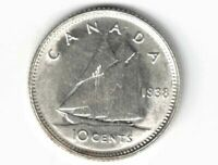 CANADA 1938 TEN CENTS DIME KING GEORGE VI .800 SILVER COIN CANADIAN