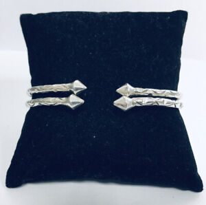 Estate Jewelry Engraved Sterling Silver West Indian Cuff Bangle Bracelet Set