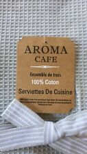 Aroma Cafe  Grey And White Set Of Three Heavy Cotton Dish Towels