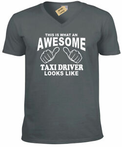 Awesome TAXI DRIVER T Shirt cab gift present Mens V-Neck t shirt