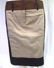 BCBG MAX AZRIA TAN BLACK COTTON STRAIGHT PENCIL COLOR BLOCK SKIRT 4