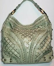 ISABELLA FIORE MINT STUD MUFFIN CARINA LARGE LEATHER SHOULDER HANDBAG TOTE $685
