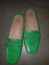 """NEW Circa Joan & David green patent leather slip on loafers """"Tory"""" sz7.5m"""