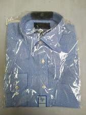 "M&S Blue Check Pure Cotton Non-Iron Regular Fit Shirt Size 15"" BNWT"