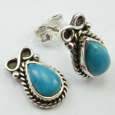 "925 Solid Silver Beautiful DROP TURQUOISE TIBETAN Posts Earrings 0.6"" BIJOUX"