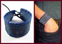 Lederarmband Surferarmband  Armband blau breit weich Sonne tribal UNISEX NEU