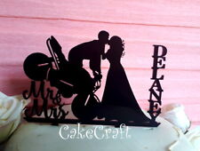 Black Acrylic Motorbike Mr and Mrs  Wedding, anniversary cake topper decorations
