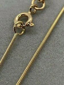 """9ct Yellow Solid Gold 0.9mm Snake Chain 20"""" / 50cm (GSNM)"""