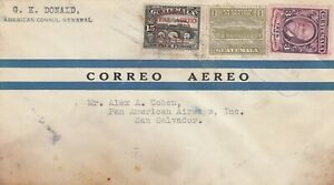 ZZ1421  Guatemala  March 1930 First Flight Cover to  San Salvador, 3 stamps