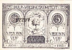 5 CENTIEMEN EXTRA FINE EMERGENCY ISSUED NOTE FROM BELGIUM/HERENTHALS 1915
