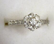 White Topaz Flower Ring size 7 / 925 Sterling Silver, 1.3ct