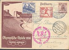 1936 Frankfurt Germany Hindenburg LZ 129 Zeppelin Olympics PS Postcard Cover