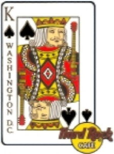 ite caKING of SPADES - WASHINGTON DC Hard Rock Cafe PLAYING CARD Series PIN 2002