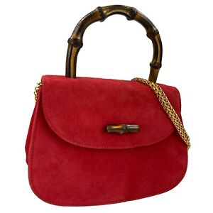 GUCCI Bamboo handle Suede Red Gold Chain 2 way Shoulder bag Authentic