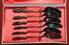 Vintage Russian USSR Set 6 Silver Plated Dessert Tea Coffee Spoons With Box
