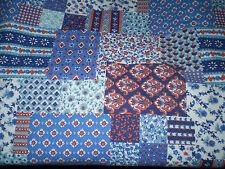 Gorgeous VINTAGE BLUE & RED FLORAL FAUX PATCHWORK THEMED FABRIC (50cm x 50cm)