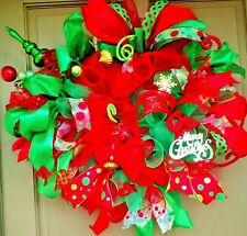 "23"" LED Lit Christmas Wreath Red Green Deco Mesh Holiday Ornament Door Decor"