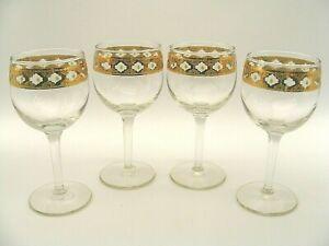 Culver Valencia Wine Glasses Set Green Diamond Gold - 4 Pc