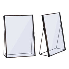 2PCS Vintage Double Sided Glass Black Metal Photo Picture Frame Freestanding