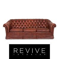 Chesterfield Leder Sofa Rot Dreisitzer Retro Vintage Couch #12695