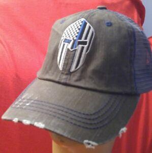 Spartan Blue Line Flag Distressed Trucker Hat Low Profile Cotton Mesh Dark Gray