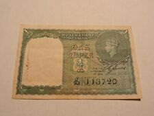 1940 Government of India George VI One 1 Rupee Note World Currency