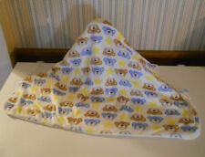 Kidgets ultra soft baby blanket white with blue & tan bears 28 x 37 excellent