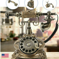 Fashion Antique Telephone Vintage Old Fashioned Rotary Dial Home Phone Rotation