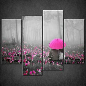 LOVE COUPLE PINK UMBRELLA CASCADE CANVAS WALL ART PRINT PICTURE READY TO HANG
